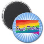 Rainbow State Of South Dakota 6 Cm Round Magnet