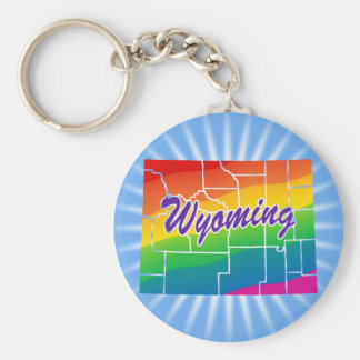 Rainbow State Of Wyoming Basic Round Button Key Ring