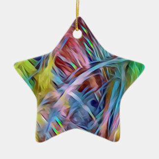 Rainbow Strands of Hair Abstract Art Christmas Ornament