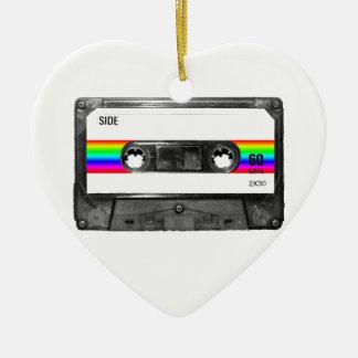 Rainbow Stripe Label Cassette Ceramic Heart Decoration