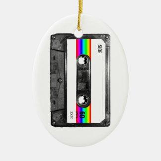 Rainbow Stripe Label Cassette Ceramic Oval Decoration