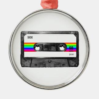 Rainbow Stripe Label Cassette Christmas Tree Ornament