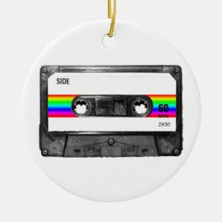 Rainbow Stripe Label Cassette Round Ceramic Decoration