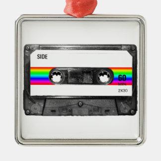 Rainbow Stripe Label Cassette Silver-Colored Square Decoration