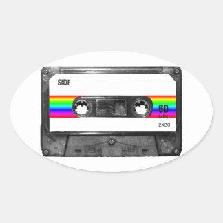 Rainbow Stripe Label Cassette Stickers