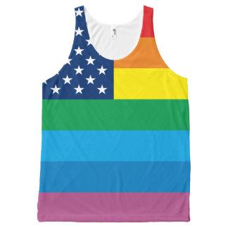 Rainbow Stripe LGBT Gay Pride USA Flag All-Over Print Tank Top