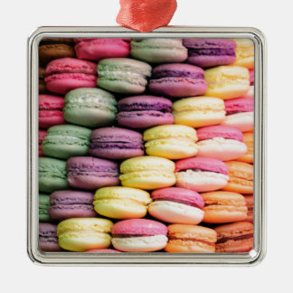 Rainbow Stripe of Stacked French Macaron Cookies Christmas Ornament