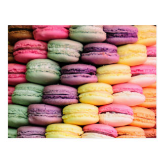 Rainbow Stripe of Stacked French Macaron Cookies Postcard