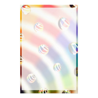 Rainbow Striped Bubbles Stationery Paper