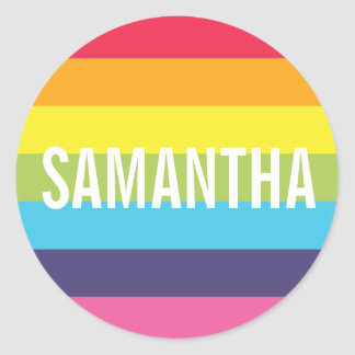 Rainbow Striped Personalized Name Sticker