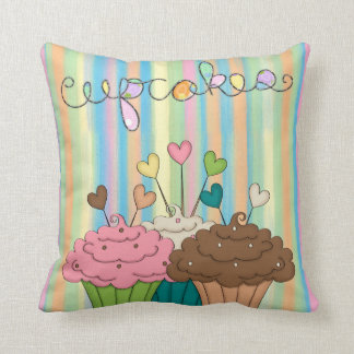 Rainbow Stripes and Cupcakes Cushion