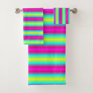 Rainbow Stripes Bath Towel Set