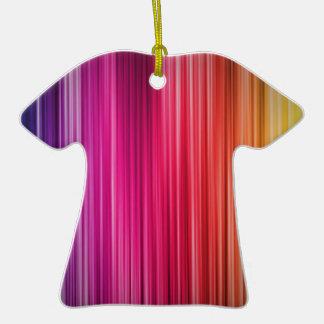 Rainbow Stripes Double-Sided T-Shirt Ceramic Christmas Ornament