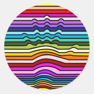Rainbow Stripes Hand Round Sticker