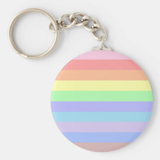 Rainbow Stripes of Pastel Colors Basic Round Button Key Ring