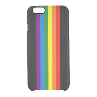 Rainbow Stripes on Black Gay Pride LGBT Support iPhone 6 Plus Case