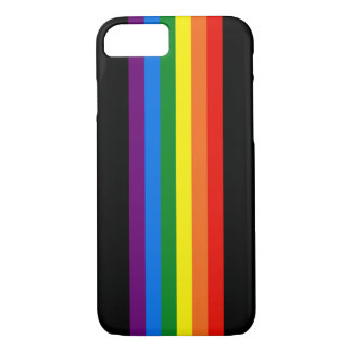 Rainbow Stripes on Black Gay Pride LGBT Support iPhone 8/7 Case