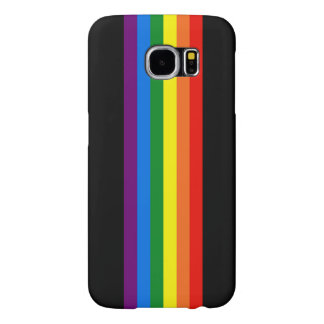 Rainbow Stripes on Black Gay Pride LGBT Support Samsung Galaxy S6 Cases