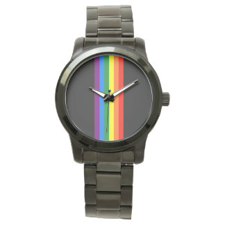 Rainbow Stripes on Black Gay Pride LGBT Support Watch