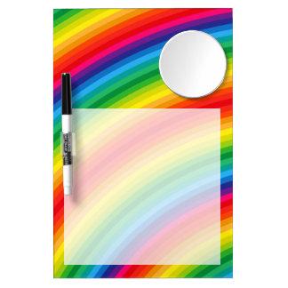 Rainbow Stripes Pattern Dry Erase Board With Mirror
