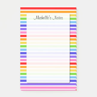Rainbow Stripes Personalized 4 x 6 Post-it Notes