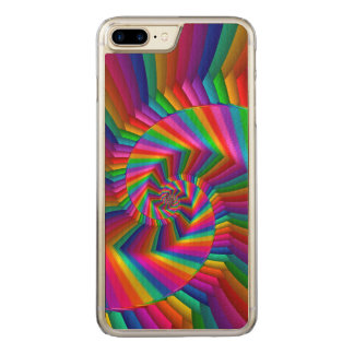 Rainbow Stripes Spiral iPhone 6 Plus Wood Carved iPhone 8 Plus/7 Plus Case