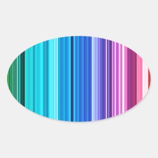 Rainbow Stripes Oval Stickers