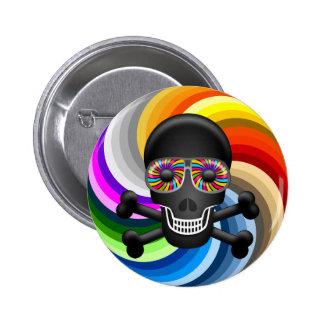 Rainbow Sugar Skull 6 Cm Round Badge