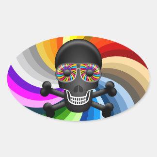 Rainbow Sugar Skull Oval Sticker