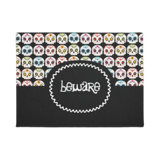 Rainbow Sugar Skull with Text Doormat