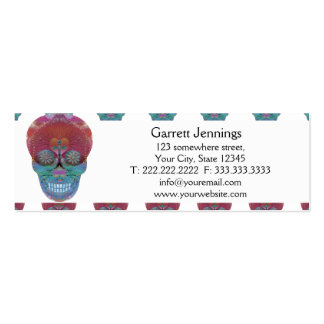 Rainbow sugar skull with tree of life and hearts business card