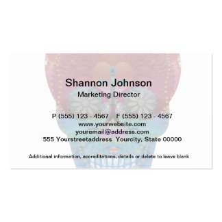 Rainbow sugar skull with tree of life and hearts business cards