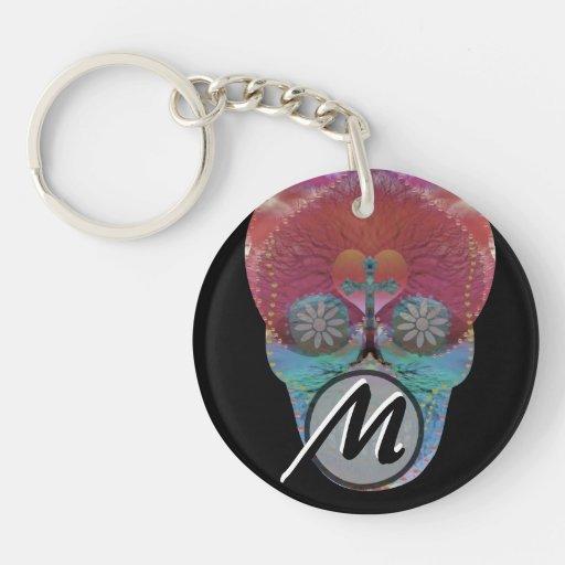 Rainbow sugar skull with tree of life and hearts acrylic keychain