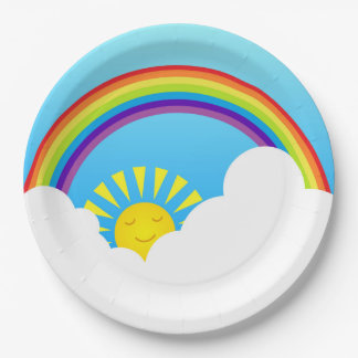 Rainbow sun and clouds 9 inch paper plate