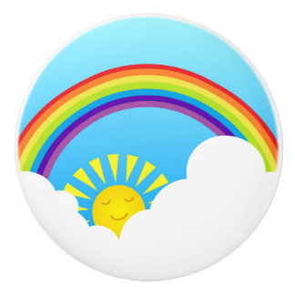 Rainbow sun and clouds ceramic knob