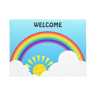 Rainbow sun and clouds doormat