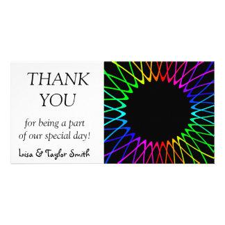 Rainbow sun fractals photo greeting card
