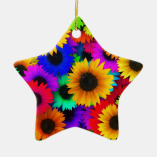Rainbow sunflowers christmas ornament