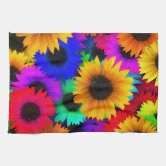 Rainbow sunflowers tea towel