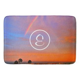 Rainbow sunrise photo custom monogram bath mat