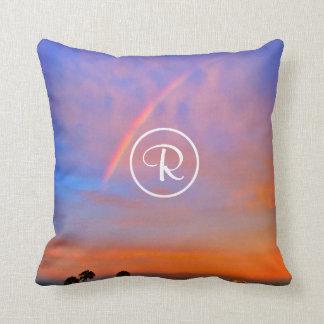 Rainbow sunrise photo custom monogram photo cushion
