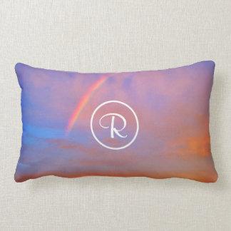 Rainbow sunrise photo custom monogram photo lumbar cushion