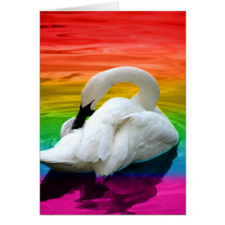 Rainbow Swan Greeting Card