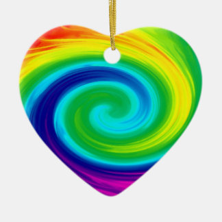 Rainbow Swirl Abstract Art Design Christmas Ornament