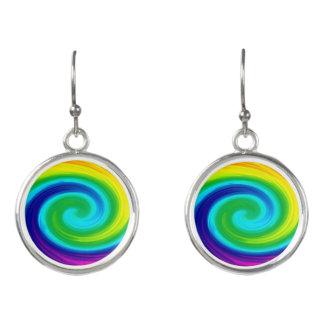 Rainbow Swirl Abstract Art Design Earrings
