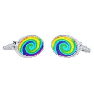 Rainbow Swirl Abstract Art Design Silver Finish Cufflinks