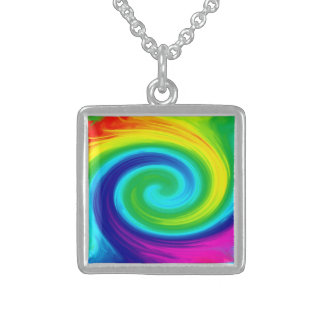 Rainbow Swirl Abstract Art Design Square Pendant Necklace