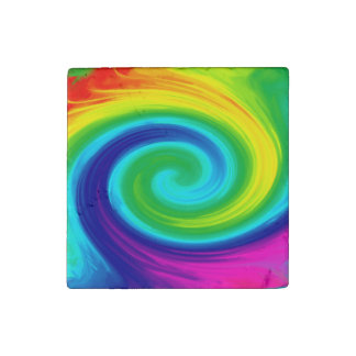Rainbow Swirl Abstract Art Design Stone Magnet