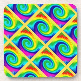Rainbow Swirl Abstract Art Design Tiled on Yellow Drink Coasters