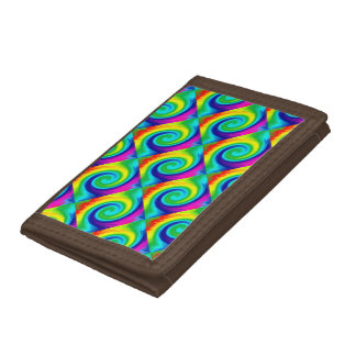 Rainbow Swirl Abstract Art Design Trifold Wallet